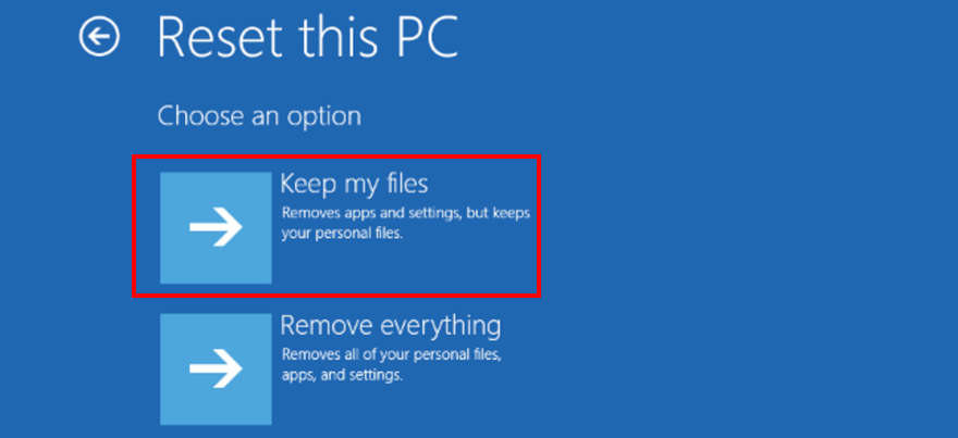 Windows 10 shows how to keep files when resetting your PC