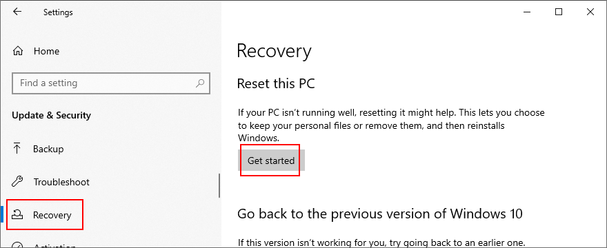 Windows 10 shows how to reset this PC
