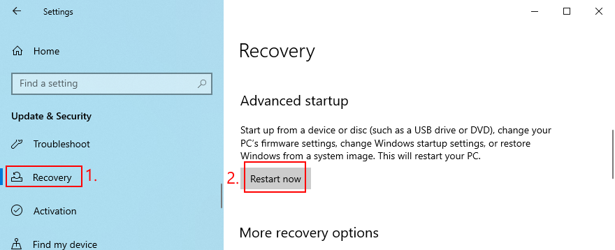 Windows 10 shows how to restart in Advanced Startup mode