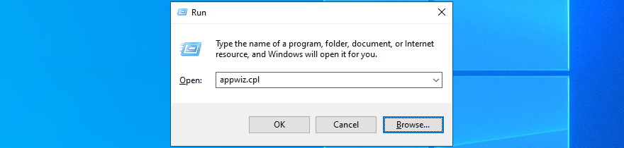Windows 10 shows how to run appwiz.cpl