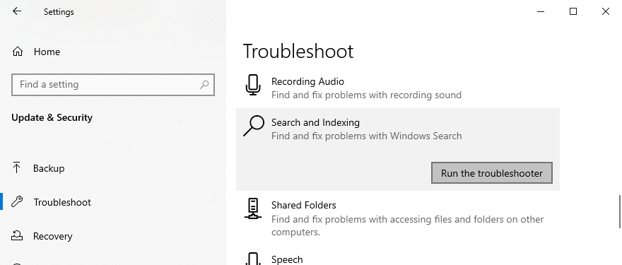 Windows 10 shows how to run the search and indexing troubleshooter