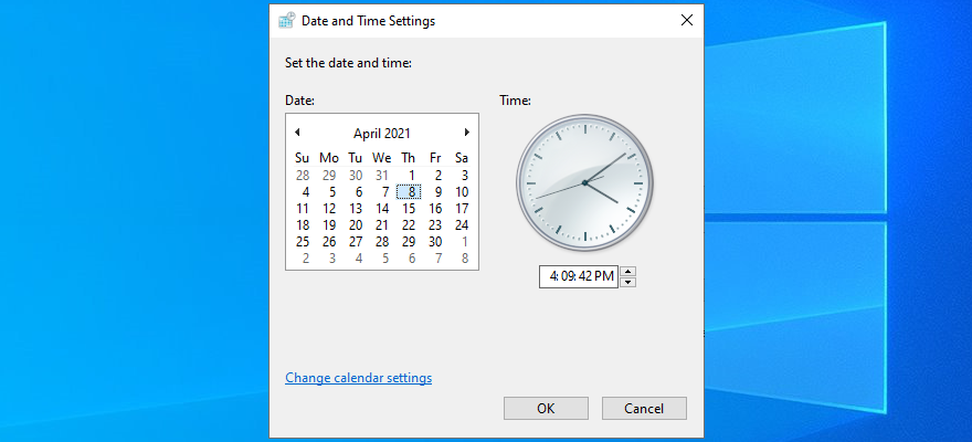Windows 10 shows how to set the date and time