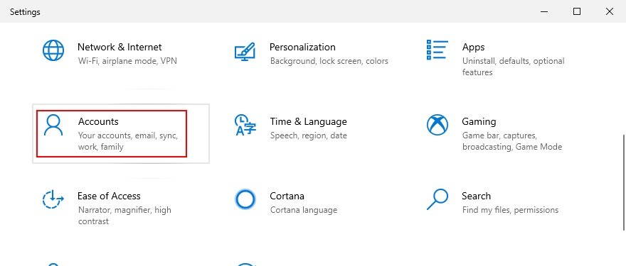 Windows 10 shows how to access Accounts from Settings
