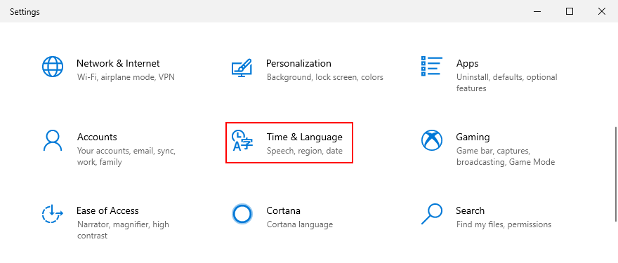 Windows 10 shows how to access Time and Language settings