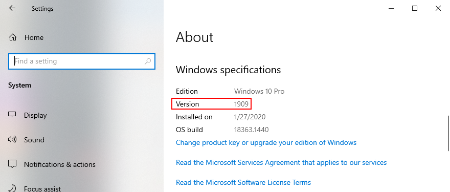 Windows 10 shows how to find out your OS version
