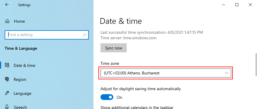 Windows 10 shows how to change the time zone
