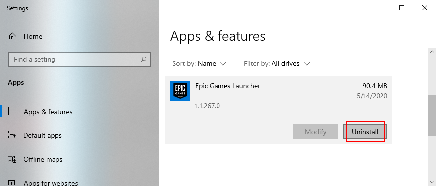 Windows 10 shows how to uninstall Epic Games Launcher