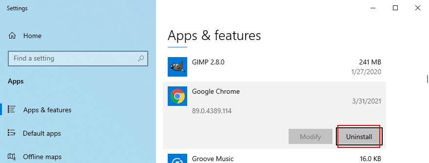 Windows 10 shows how to uninstall Google Chrome