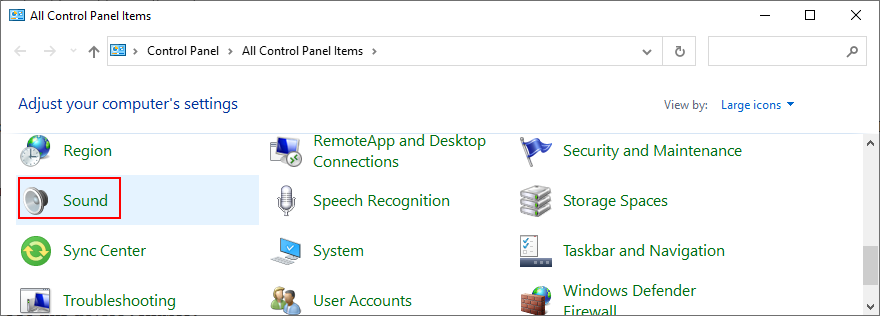Windows shows how to access Sound settings from Control Panel