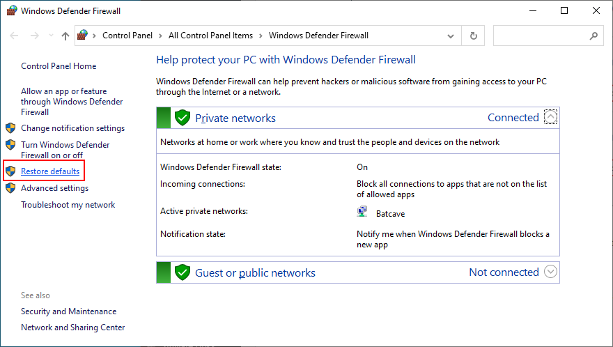 how to restore Windows Defender Firewall to default