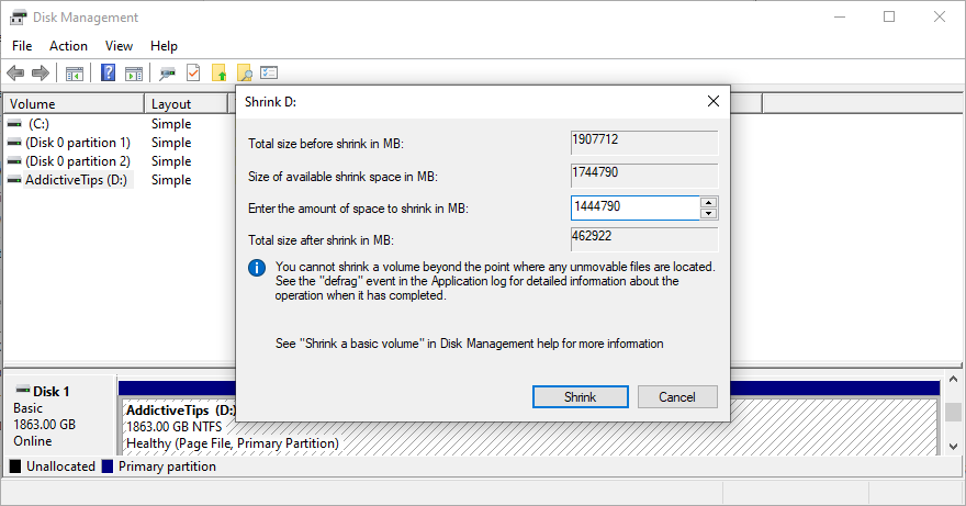 Windows shows how to set the shrink size in Disk Management