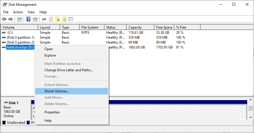 Windows shows how to shrink a volume using Disk Management