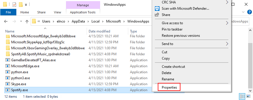 Windows Explorer shows how to access Spotify properties