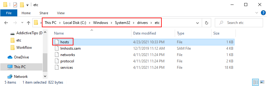Windows Explorer shows how to access the Hosts file's location