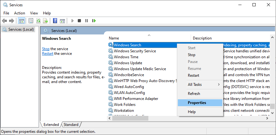 How to access the Windows Search service properties