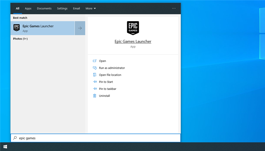 how to run Epic Games Launcher from the Windows Start menu