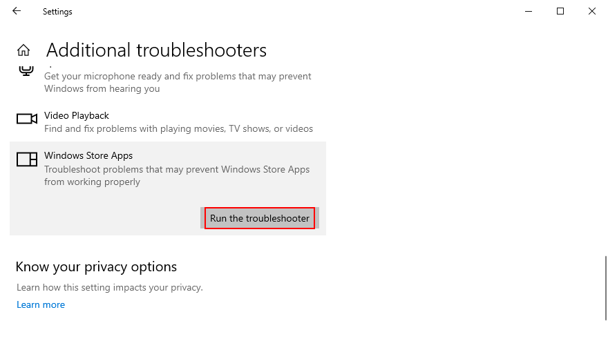 how to run the Windows Store Apps troubleshooter