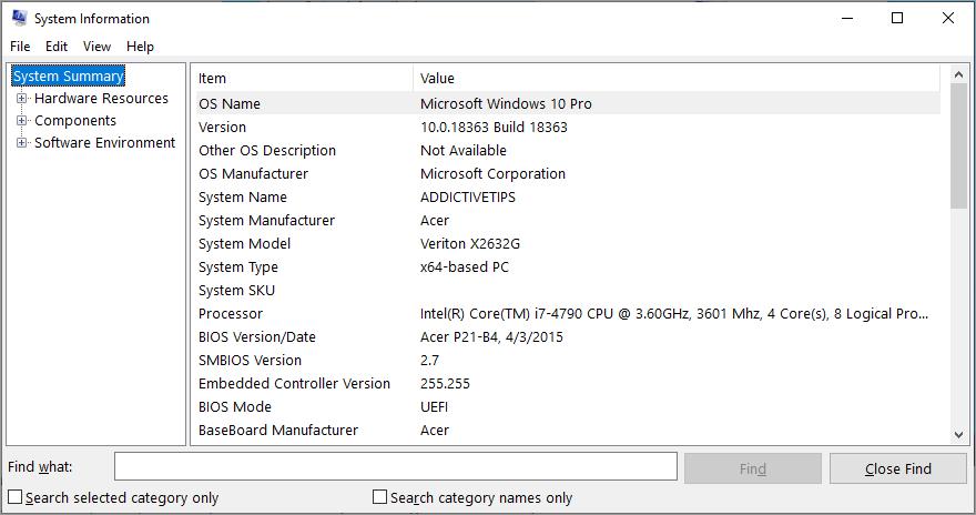 Windows shows System Information