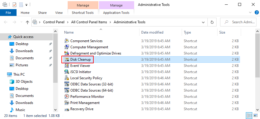 Windows shows how to access Disk Cleanup from Administrative Tools