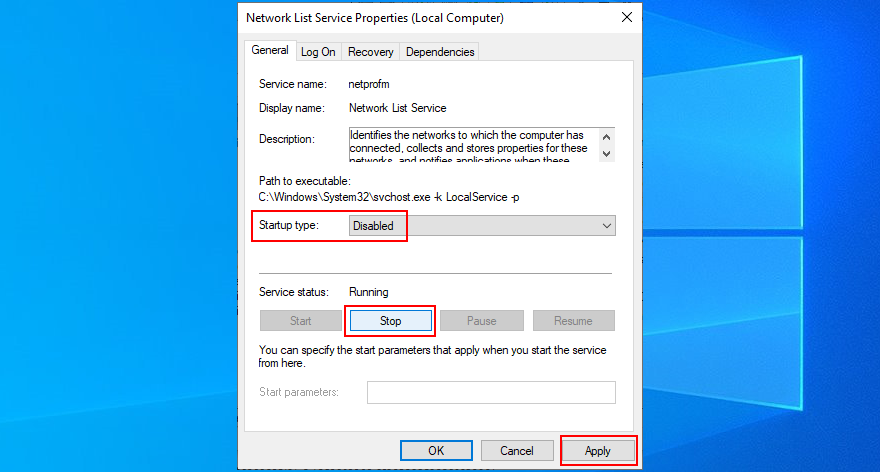 Windows shows how to disable network list service