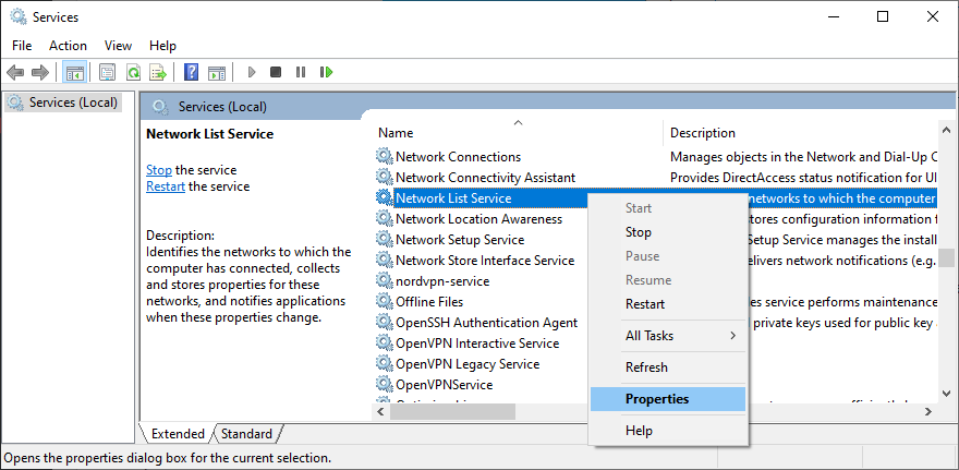 Windows shows how to access the network list service properties