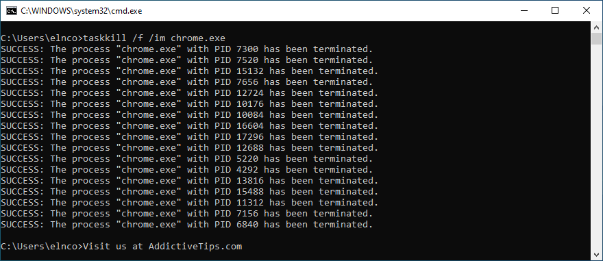 Command Prompt shows how to kill a task