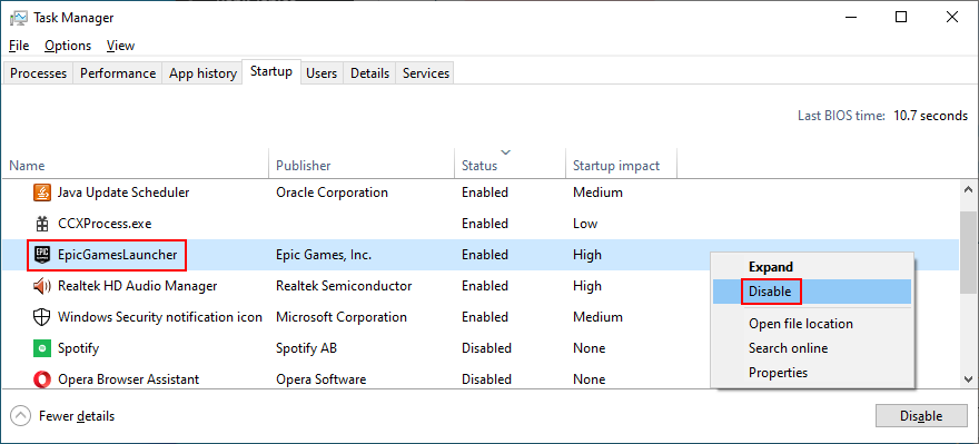 Task Manager shows how to disable Epic Games Launcher startup mode