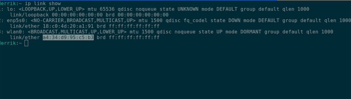 Linux MAC address