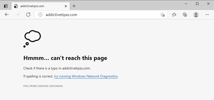 Microsoft Edge can't reach this page