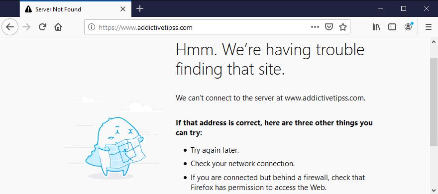 Mozilla Firefox server not found