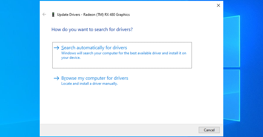 Windows 10 search automatically for display drivers