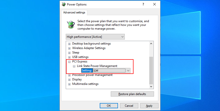 Windows shows how to disable the PCI Express power option