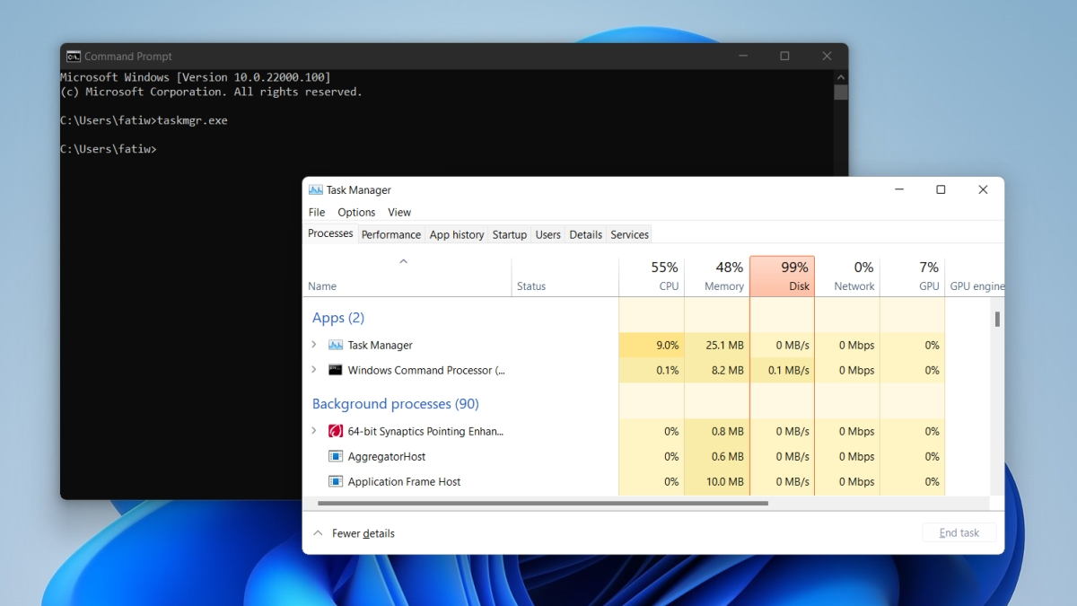 Task Manager on Windows 11 command prompt