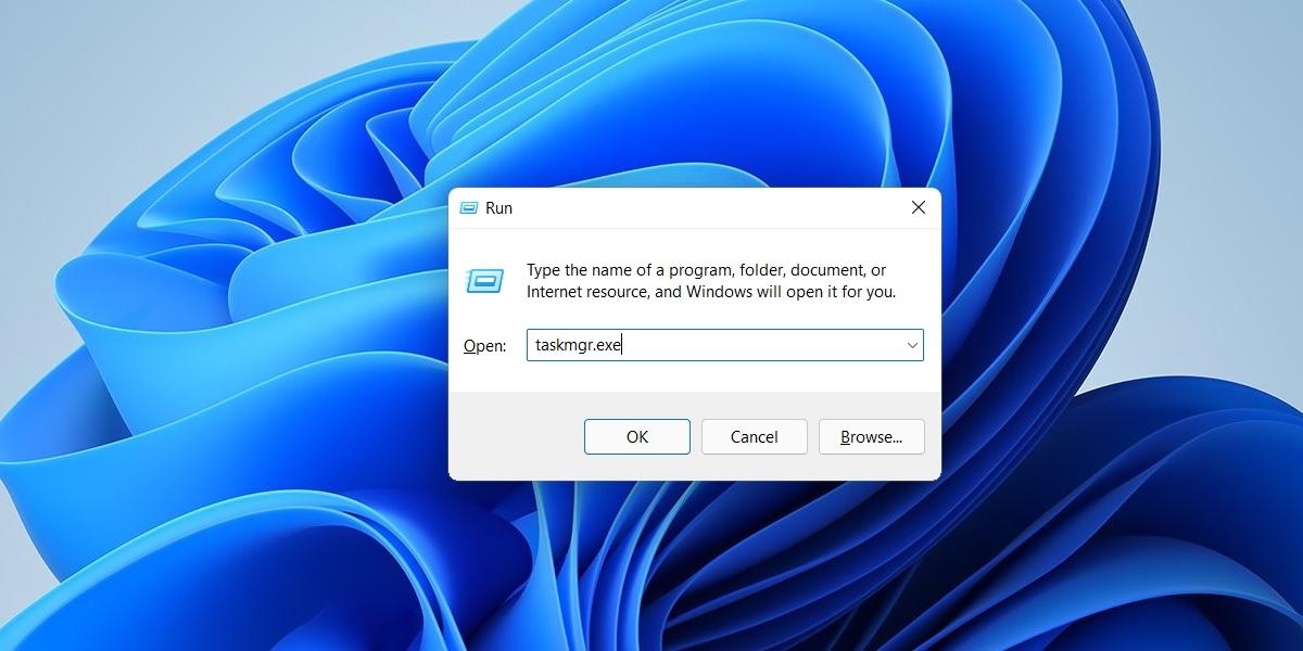 Task Manager on Windows 11 run box
