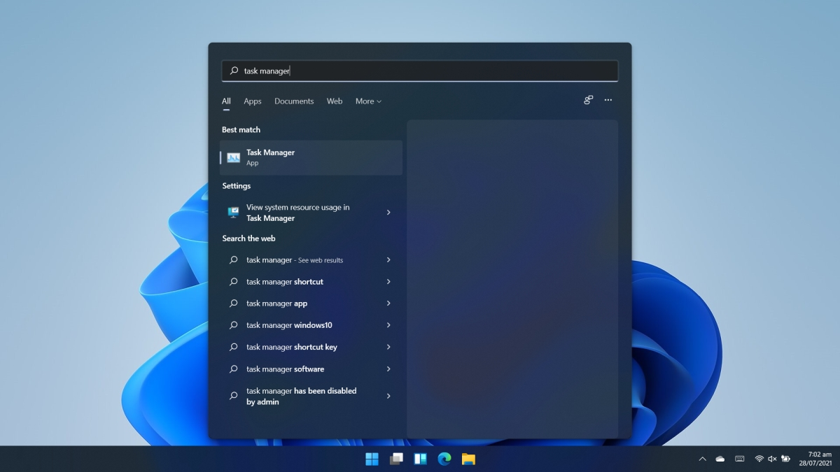 Task Manager on Windows 11 win search