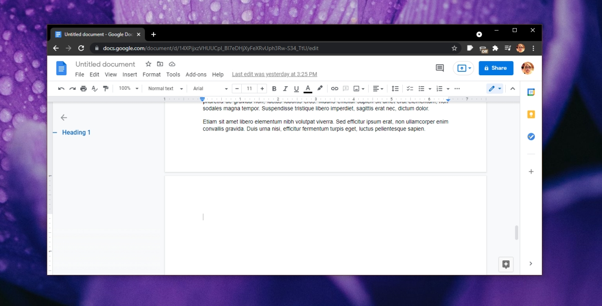 Delete a blank page in Google Documents