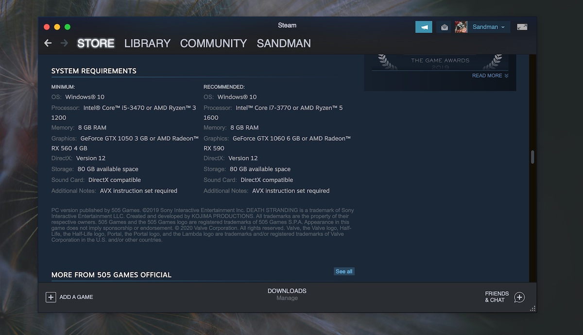 steam game requirements