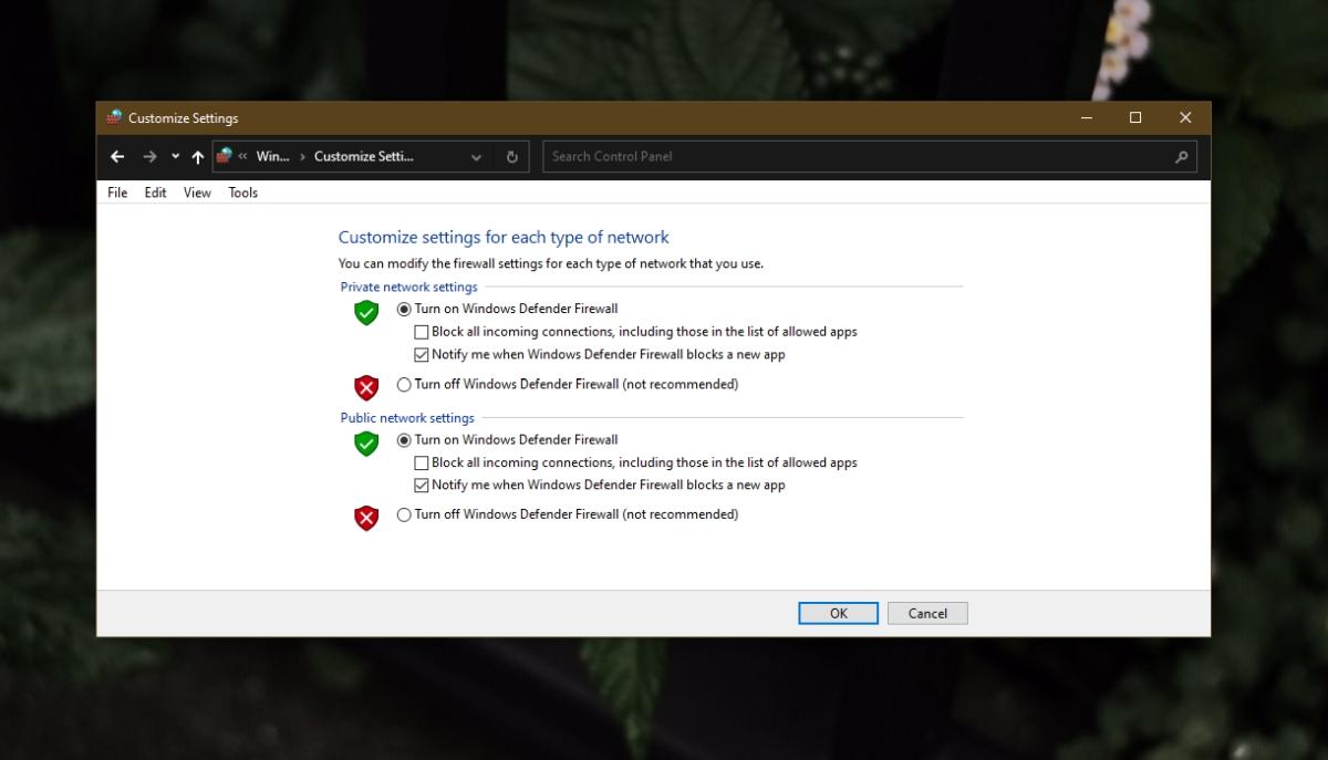 Enable Windows Defender firewall